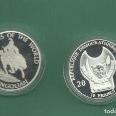 Monedas antiguas de África: REPÚBLICA.DEM CONGO. 10 FRANCS 2010. SOLDADO MONGOL. BAÑO DE PLATA. Lote 187469588