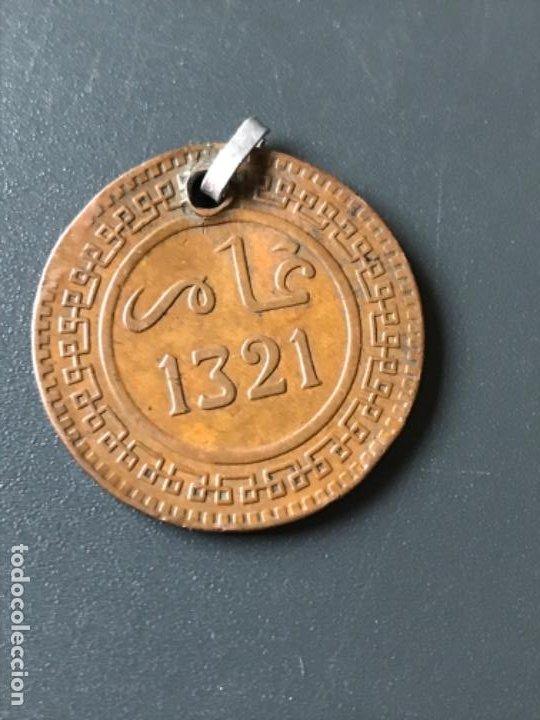 Monedas antiguas de África: Marruecos medalla moneda antigua 10 mazunas de Abd. Al-Aziz. año 1321 de la hégira - Foto 2 - 188482807