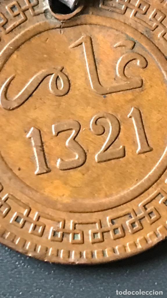 Monedas antiguas de África: Marruecos medalla moneda antigua 10 mazunas de Abd. Al-Aziz. año 1321 de la hégira - Foto 7 - 188482807