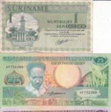 Monedas antiguas de África: 3 BILLETES SURINAME MUNTBILJET EEN GULDEN , 25 Y 100. Lote 189445956