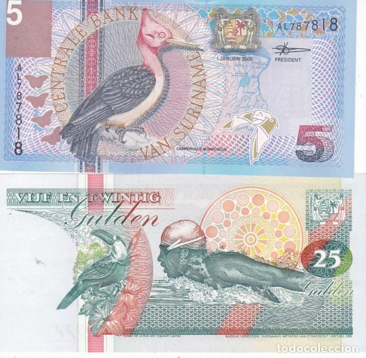 2 BILLETES CENTRALE BANK VAN SURINAME 5 Y 25 GULDEN (Numismática - Extranjeras - África)