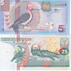 Monedas antiguas de África: 2 BILLETES CENTRALE BANK VAN SURINAME 5 Y 25 GULDEN. Lote 189446693