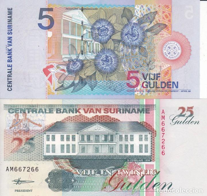 Monedas antiguas de África: 2 billetes centrale bank van suriname 5 y 25 gulden - Foto 2 - 189446693