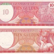 Monedas antiguas de África: 2 BILLETES CENTRAL BANK VAN SURINAME TIEN GULDEN 10 . Lote 189446911