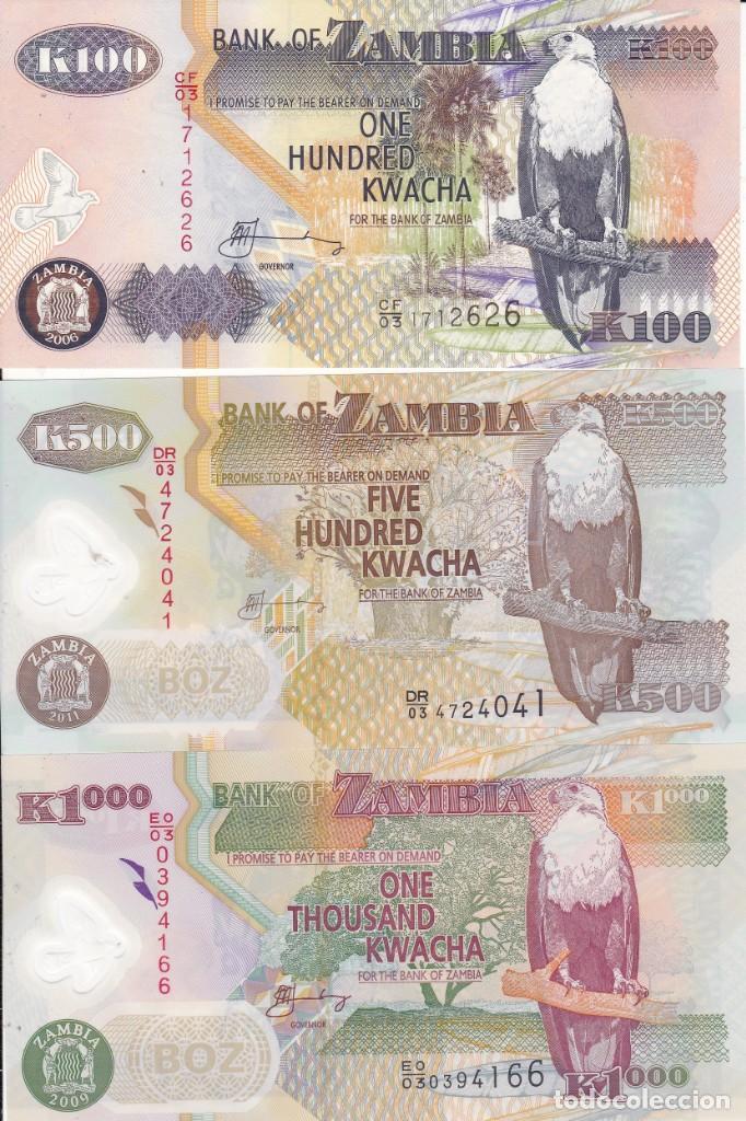 3 BILLETES DE ZAMBIA 100, 500 Y 1000 KWACHA S/C (Numismática - Extranjeras - África)