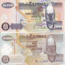 Monedas antiguas de África: 3 BILLETES DE ZAMBIA 100, 500 Y 1000 KWACHA S/C. Lote 189635005