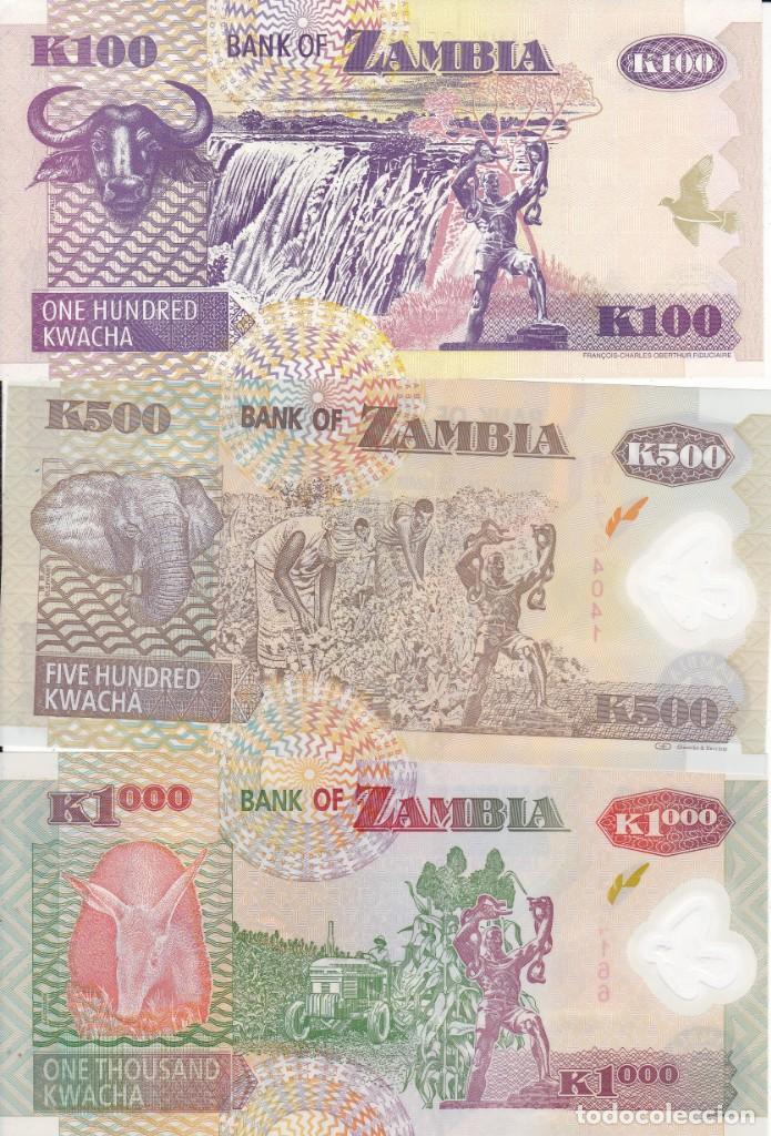 Monedas antiguas de África: 3 billetes de Zambia 100, 500 y 1000 Kwacha S/C - Foto 2 - 189635005