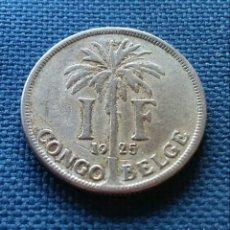 Monedas antiguas de África: 1 FRANCO 1925 CONGO BELGA. Lote 194229248