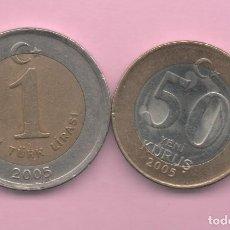 Monedas antiguas de África: TURQUIA = 50 KURUS + 1 LIRA 2005. Lote 194721522