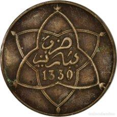 Monedas antiguas de África: MONEDA, MARRUECOS, YUSUF, 5 MAZUNAS, 1912/AH1330, BI-BARIZ, PARIS, MBC, BRONCE. Lote 194744140