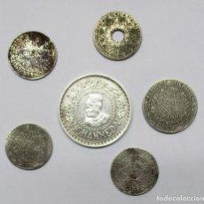 Monedas antiguas de África: MARRUECOS CONJUNTO DE 6 MONEDAS ANTIGUAS, 3 DE ELLAS EN PLATA. LOTE 2346. Lote 195271570