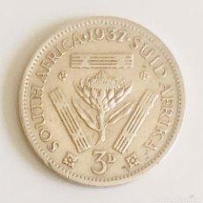 Monedas antiguas de África: 3 PENIQUES PLATA SUDÁFRICA IMPERIO BRITÁNICO 1937. Lote 198547022