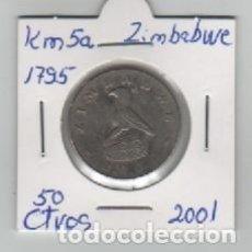 Monedas antiguas de África: MONEDA ZIMBABWE 50 CENTAVOS 2001. Lote 199622452