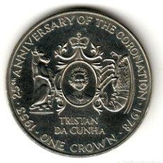 Monete antiche di Africa: TRISTAN DA CUNHA 1 CORONA 1978 CORONATION JUBILEE 25 ANIVERSARIO CORONACION. Lote 199790448