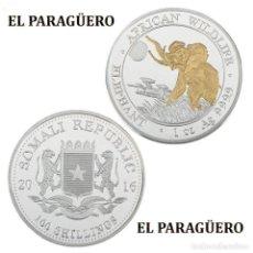 Monedas antiguas de África: SOMALIA 100 SHILLINGS MEDALLA PLATA Y ORO TIPO MONEDA (ELEFANTE AFRICANO)PESO 32 GRA LEER DENTRO-N1. Lote 218347910