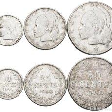 Moedas antigas de África: *** BONITA SERIE DE 10-25 Y 50 CENTS 1960 DE LIBERIA. KM#15-16-17. PLATA ***. Lote 200736997