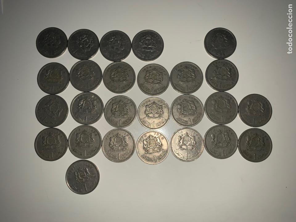 LOTE 26 MONEDAS 1 DIRHAM MARRUECOS 1965-1969-1974-1987 (Numismática - Extranjeras - África)