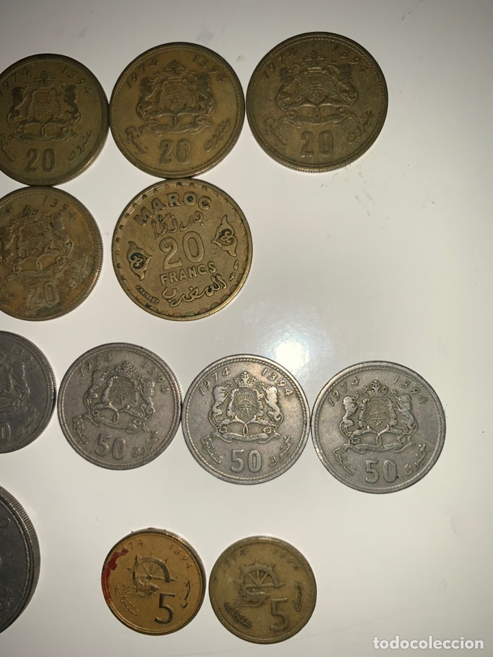 Monedas antiguas de África: Lote 19 monedas dirham francs Marruecos - Foto 3 - 202884282