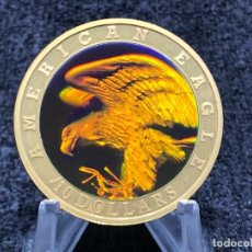 Monedas antiguas de África: MONEDA CON HOLOGRAMA AGUILA AMERICANA DE 10 DOLARES DE LIBERIA AÑO 2001. Lote 205142848