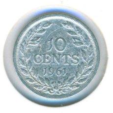 Moedas antigas de África: LIBERIA 10 CÉNTIMOS 1961 ( BC+ ) KM # 15 - PLATA. Lote 206394372