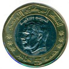 Moedas antigas de África: TÚNEZ 5 DINARES AH 1423 / 2002 ( EBC- ) KM # 444 - 2º ANIV. DEL FALLECIMIENTO DE HABIB BOURGUIBA. Lote 206412727