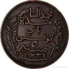 Monedas antiguas de África: MONEDA, TÚNEZ, MUHAMMAD AL-NASIR BEY, 5 CENTIMES, 1917, PARIS, MBC, BRONCE. Lote 207086165