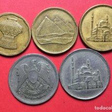 Monedas antiguas de África: X-2063 )EGIPTO,,5 MONEDAS TODAS DISTINTAS FECHAS Y TIPOS,,MUY BUEN ESTADO. Lote 207109121