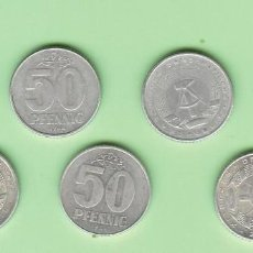 Monedas antiguas de África: ALEMANIA D.D.R. 7 MONEDAS DE 50 PFENNIG. 7 FECHAS, 3 MODELOS. Lote 210341978