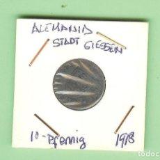 Monedas antiguas de África: MONEDA, ALEMANIA, STADT GIESSEN, KLEINGELDERSATZMARKE, GIESSEN, 10 PFENNIG 1918. Lote 210350355