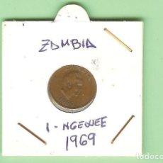 Moedas antigas de África: ZAMBIA. 1 NGWEE 1969. BRONCE. KM#9. Lote 210609222