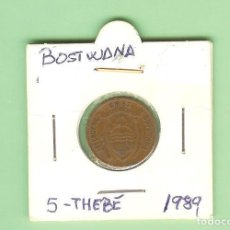 Monedas antiguas de África: BOSTWANA. 5 THEBE 1989. BRONCE. KM#4. Lote 210961947