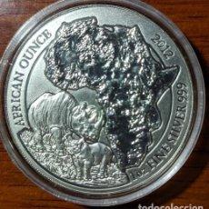 Monedas antiguas de África: RUANDA RINOCERONTE 2012, 1 OZ., PLATA PURA.. Lote 211844048