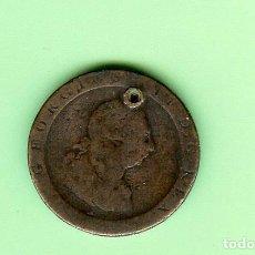 Monedas antiguas de África: INGLATERRA. 1/2 PENNY 1730. GEORGIUS II. COBRE. KM#566. PERFORADA. Lote 211906690