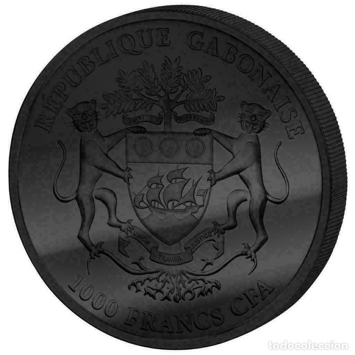 Monedas antiguas de África: MONEDA GABON 1000 FRANCOS 2014. 1 ONZA PLATA PURA CON RECUBRIMIENTO RUTENIO Y ORO. - Foto 2 - 234935140