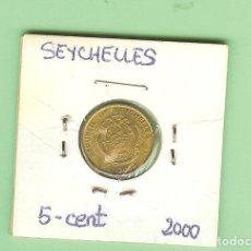 Monedas antiguas de África: SEYCHELLES. 5 CENT 2000. LATÓN. KM#47. Lote 215789696