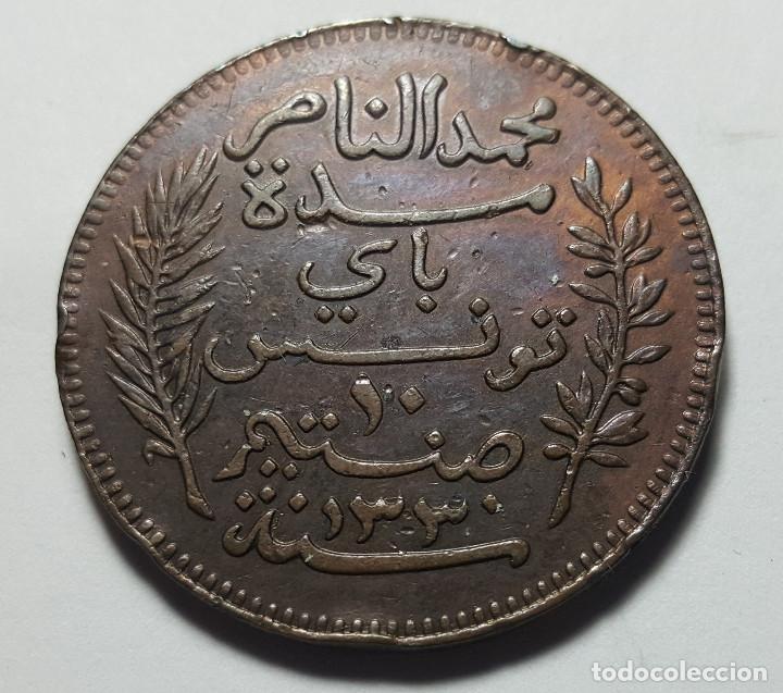 Monedas antiguas de África: 10 CÉNTIMES TÚNEZ 1912 - Foto 2 - 216926516