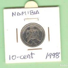 Monedas antiguas de África: NAMIBIA. 10 CENT 1998. ACERO BAÑADO EN NÍQUEL. KM#2. Lote 219495252