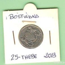 Monedas antiguas de África: BOSTWANA. 25 THEBE 2013. ACERO BAÑADO EN NÍQUEL. KM#28. Lote 219563046