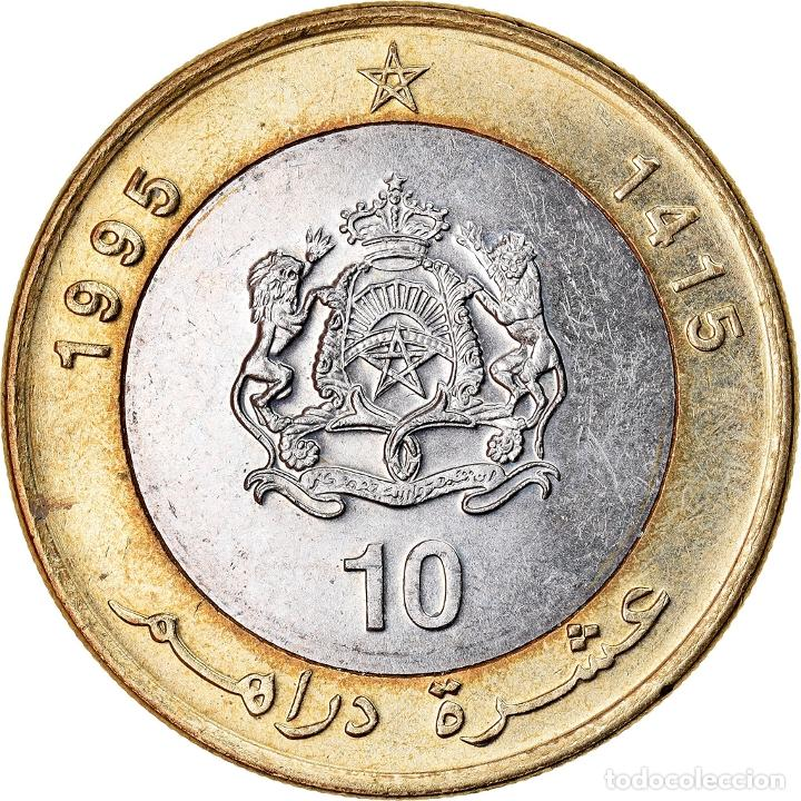 Monedas antiguas de África: Moneda, Marruecos, al-Hassan II, 10 Dirhams, 1995, MBC, Bimetálico, KM:92 - Foto 2 - 221980513