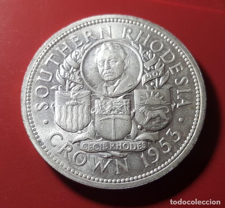 1 CROWN RHODESIA DEL SUR 1953 CECIL RHODES PLATA SC (Numismática - Extranjeras - África)
