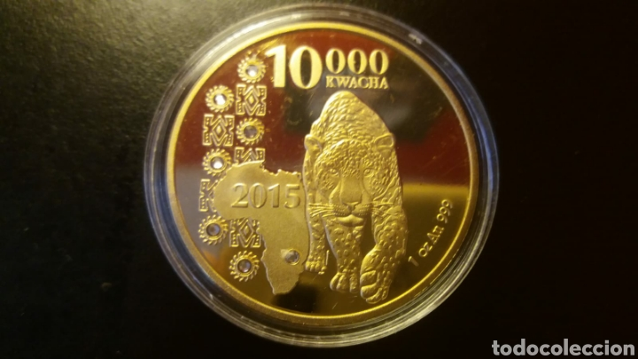 PRECIOSA MONEDA ZAMBIA 2015 .10,000 KWACHA ORO LAMINADO (Numismática - Extranjeras - África)