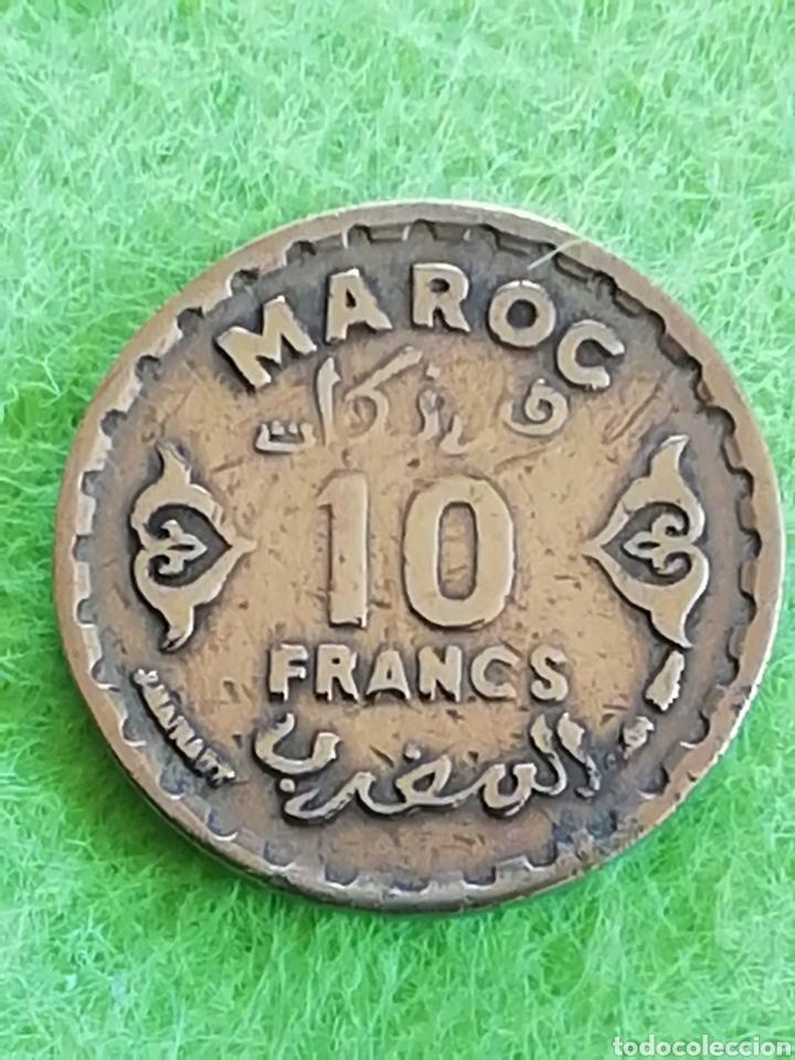 Monedas antiguas de África: Antigua moneda de Marruecos 10 francos. - Foto 2 - 232583212