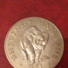 Monnaies anciennes d'Afrique: TANZANIA 50 SHILINGI DE PLATA 1974 (CONSERVACIÓN - RINOCERONTE NEGRO). Lote 233597490