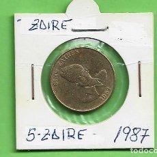Monedas antiguas de África: ZAIRE. 5 ZAIRES 1987. LATÓN. KM#14. Lote 235164170