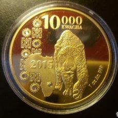 Monnaies anciennes d'Afrique: PRECIOSA MONEDA ZAMBIA 2015 .10,000 KWACHA ORO LAMINADO. Lote 235305240