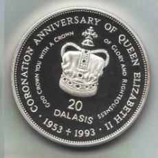 Monedas antiguas de África: GAMBIA - 20 DALASIS - 1993 - PLATA - PROOF. Lote 235996795