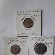Monedas antiguas de África: REPÚBLICA ÁRABE SAHARAUI 1, 2 Y 5 PESETAS 1992 S/C. Lote 239514040