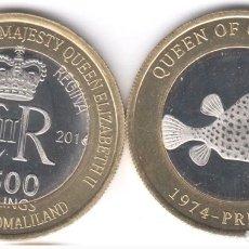 Monedas antiguas de África: SOMALILAND 2500 SHILLING 2006 BIMETALICA CONMEMORATIVA PEZ GLOBO GRENADA 90 AÑOS DE LA REYNA. Lote 243689325