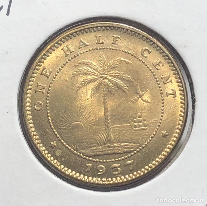 Monedas antiguas de África: Liberia KM10. 1/2 Centavo 1937 UNC BU - Foto 2 - 244589530