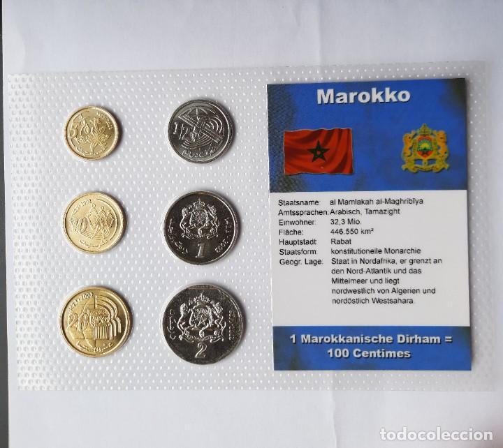 BLÍSTER 6 MONEDAS MARRUECOS. PLASTIFICADAS. TEXTO EN ALEMÁN. SC. (Numismática - Extranjeras - África)